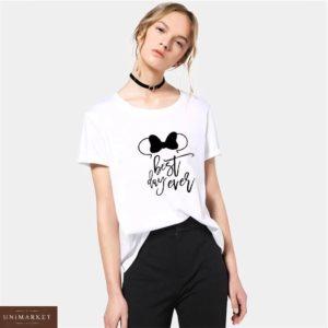 Купить белую женскую футболку из хлопка с надписью в стиле Disney в Украине