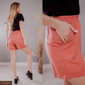 Заказать кирпичные женские льняные шорты с карманами на резинке (размер 42-48) по скидке