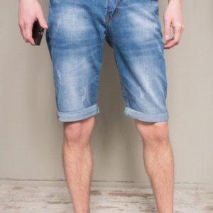 Заказать мужские синие джинсовые шорты с карманами по скидке