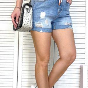 Купити онлайн жіночі блакитні джинсові шорти на гумці з потертостями в інтернет-магазині