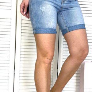 Замовити жіночі блакитні літні джинсові шорти з царапки в Україні