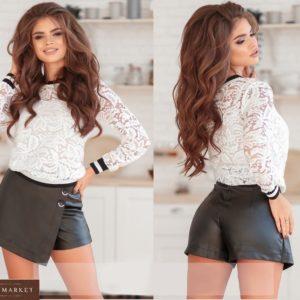 Заказать женскую черную юбку-шорты мини из эко кожи по низким ценам