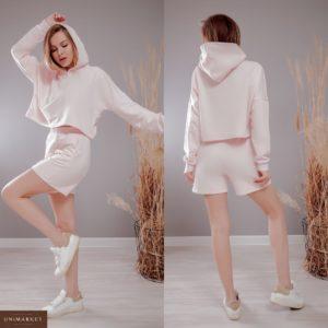 Купить розовые женские трикотажные шорты из трехнити на резинке (размер 42-48) дешево