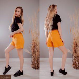 Заказать горчичные женские льняные шорты с карманами на резинке (размер 42-48) по скидке