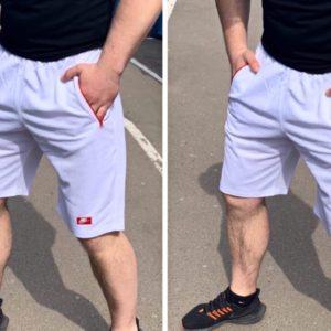 Приобрести белые мужские шорты с карманами на змейке (размер 46-52) выгодно