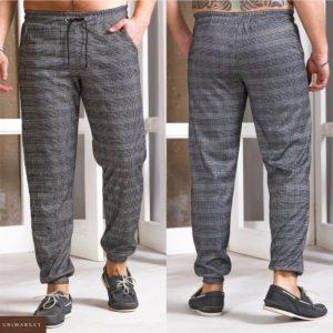Приобрести серые мужские трикотажные штаны на манжете в серую клетку (размер 48-54) по скидке