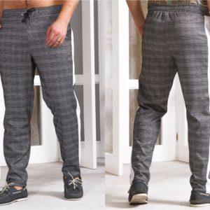 Купить мужские трикотажные штаны с лампасами в серую клетку (размер 46-54) онлайн в интернете