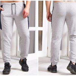 Приобрести мужские спортивные штаны на манжете со вставкой (размер 48-56) светло-серые по скидке