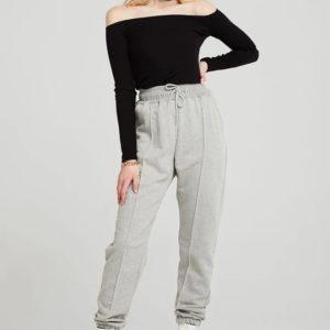 Заказать серые женские штаны на высокой посадке с карманами по скидке