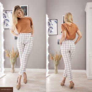 Купить белые женские клетчатые брюки на высокой посадке из костюмки (размер 42-54) недорого