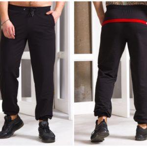 Купить черные мужские спортивные штаны с манжетами и полоской сзади (размер 48-54) недорого