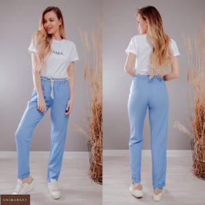 Заказать голубые женские льняные штаны на резинке с канатом (размер 40-56) выгодно