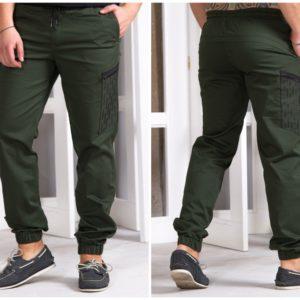 Купить зеленые мужские штаны джоггеры с накладным карманом (размер 48-54) по низким ценам