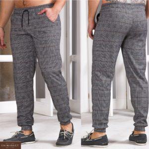 Купить онлайн мужские трикотажные штаны на манжете в серую клетку (размер 48-54) недорого