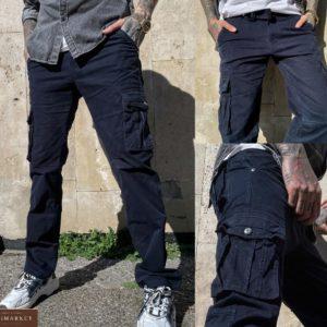 Купить темно-синие мужские брюки карго с накладными карманами (размер 30-38) в Украине