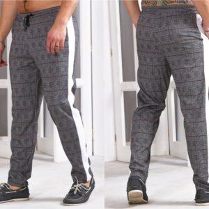 Заказать мужские трикотажные штаны с лампасами в серую клетку (размер 46-54) в Украине