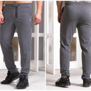 Купить серые мужские спортивные штаны без манжета с карманами (размер 48-56) по скидке