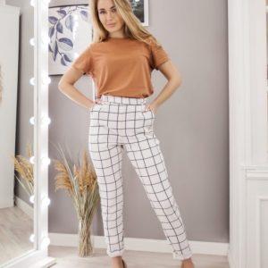 Заказать белые женские клетчатые брюки на высокой посадке из костюмки (размер 42-54) в Украине