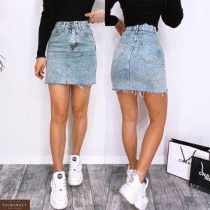 Купити синю жіночу джинсову спідницю з високою талією і необробленим краєм (розмір 42-48) дешево