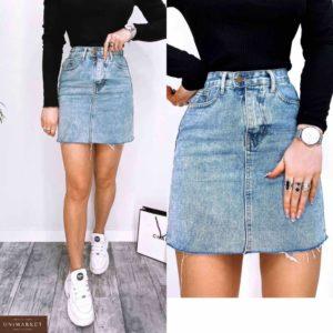 Заказать онлайн синюю женскую джинсовую юбку с высокой талией и необработанным краем (размер 42-48) недорого