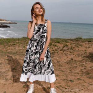 Купити чорно-біле жіноче літнє плаття міді з льону з воланом в інтернет-магазині