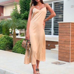 Купить бежевое женское платье комбинация из шёлка дешево