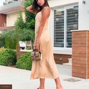 Заказать женское платье комбинация из шёлка бежевое дешево