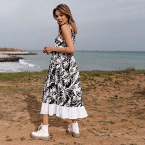 Замовити чорно-біле жіноче літнє плаття міді з льону з воланом по знижці