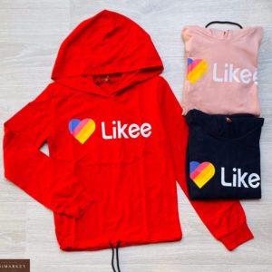 Заказать красный детский батник с капюшоном с надписью Likee в Украине