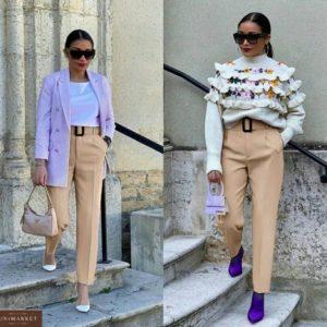 Заказать женские бежевые классические брюки 7/8 со стрелкой (размер 42-50) в интернет-магазине