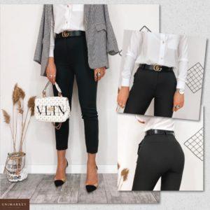 Купить черные женские стильные укороченные брюки с высокой талией (размер 42-48) по низким ценам