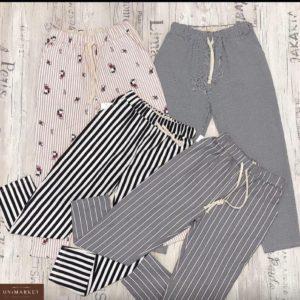 Заказать черные, серые, розовые женские стрейчевые укороченные брюки с принтом (полоска, горошек) по низким ценам