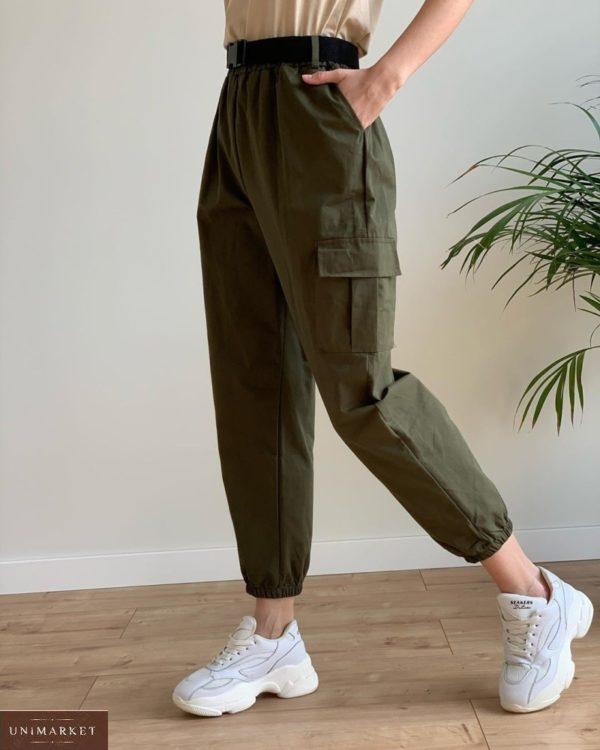 Купить женские брюки джоггеры хаки с карманами недорого
