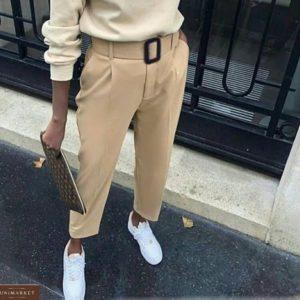 Купить женские бежевые классические брюки 7/8 со стрелкой (размер 42-50) хорошего качества