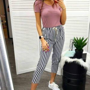 Заказать черно-белые женские стрейчевые укороченные брюки с принтом (полоска, горошек) по низким ценам