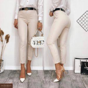 Купить бежевые женские стильные укороченные брюки с высокой талией (размер 42-48) онлайн