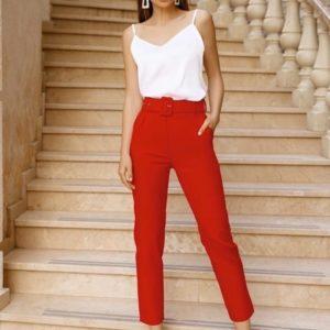Заказать красные женские укороченные брюки с поясом в комплекте (размер 42-50) в Одессе