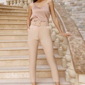 Купить бежевые женские укороченные брюки с поясом в комплекте (размер 42-50) в Украине