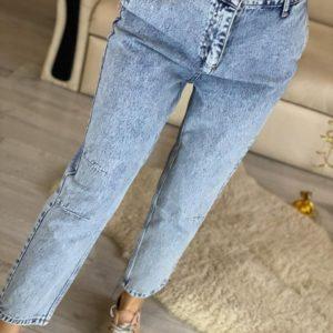 Купить женское голубые джинсы Mom с резинкой на поясе в Украине