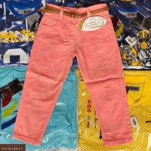 Купить детские коралловые джинсы со стразами недорого