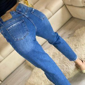 Приобрести женские синие рваные джинсы Mom дешево