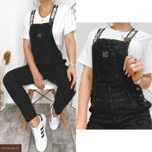 Приобрести женский черный джинсовый комбинезон с карманами дешево
