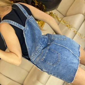 Заказать женский голубой джинсовый комбинезон с юбкой на пуговицах в Харькове, Киеве