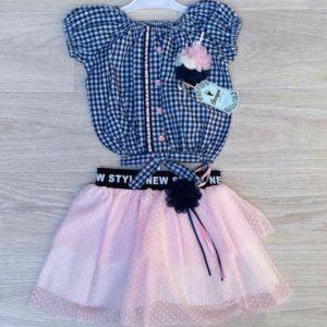 Заказать розовый детский комплект: блузка в клетку+юбка из шифона на девочку 5 лет выгодно