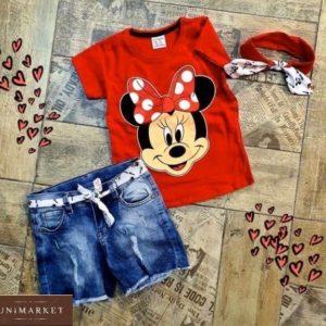 Купить красный Микки Маусдетский комплект-тройка: джинсовые шорты+футболка с принтом+повязка в Украине