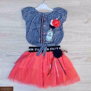 Купить коралловый детский комплект: блузка в клетку+юбка из шифона в Украине