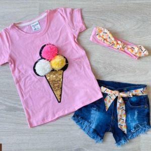 Заказать детский комплект-тройка: джинсовые шорты+футболка с принтом розовый мороженое+повязка на девочку недорого