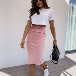 Купить белый/пудра женский костюм двойка: топ +высокая юбка недорого