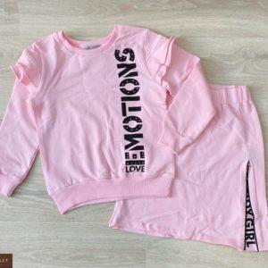 Купить розовый детский трикотажный костюм с юбкой с надписью дешево
