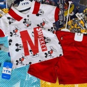 Купить красный детский трикотажный костюм с шортиками с Микки Маусом в интернет-магазине